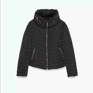 NEW W/TAGS ZARA Anorack BLACK Puffer Fur Jacket XS